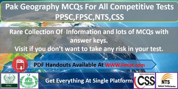 Pakistan Geography MCQs PDF