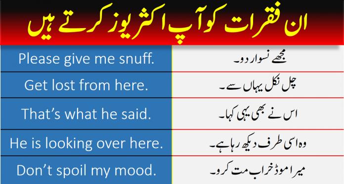 Common English To Urdu Sentences 100+|| PDF