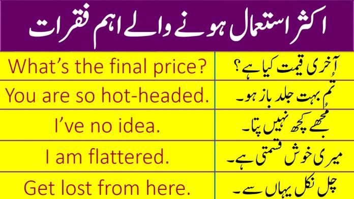 100 Most Used English Sentences With Urdu Translation   PDF