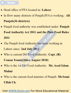 About Authority MCQs Punjab Food Authority