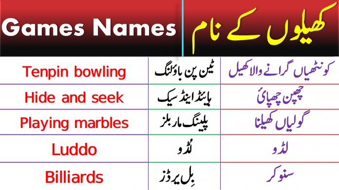Daily Use English Vocabulary With Urdu Meanings for Sports and Games