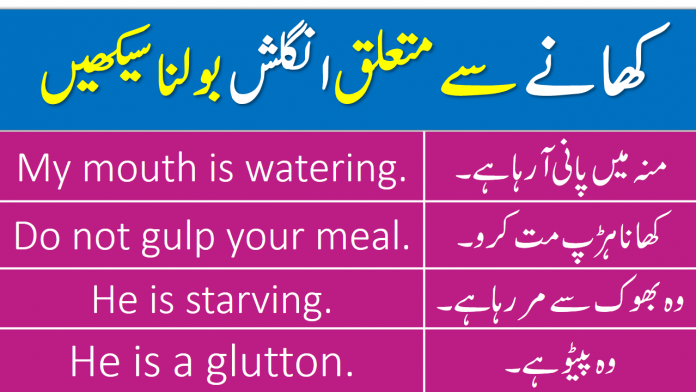English to Urdu Sentences to talk about Food and Eating