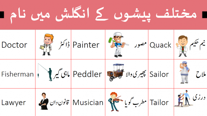 English Vocabulary for Occupations with Urdu Meanings