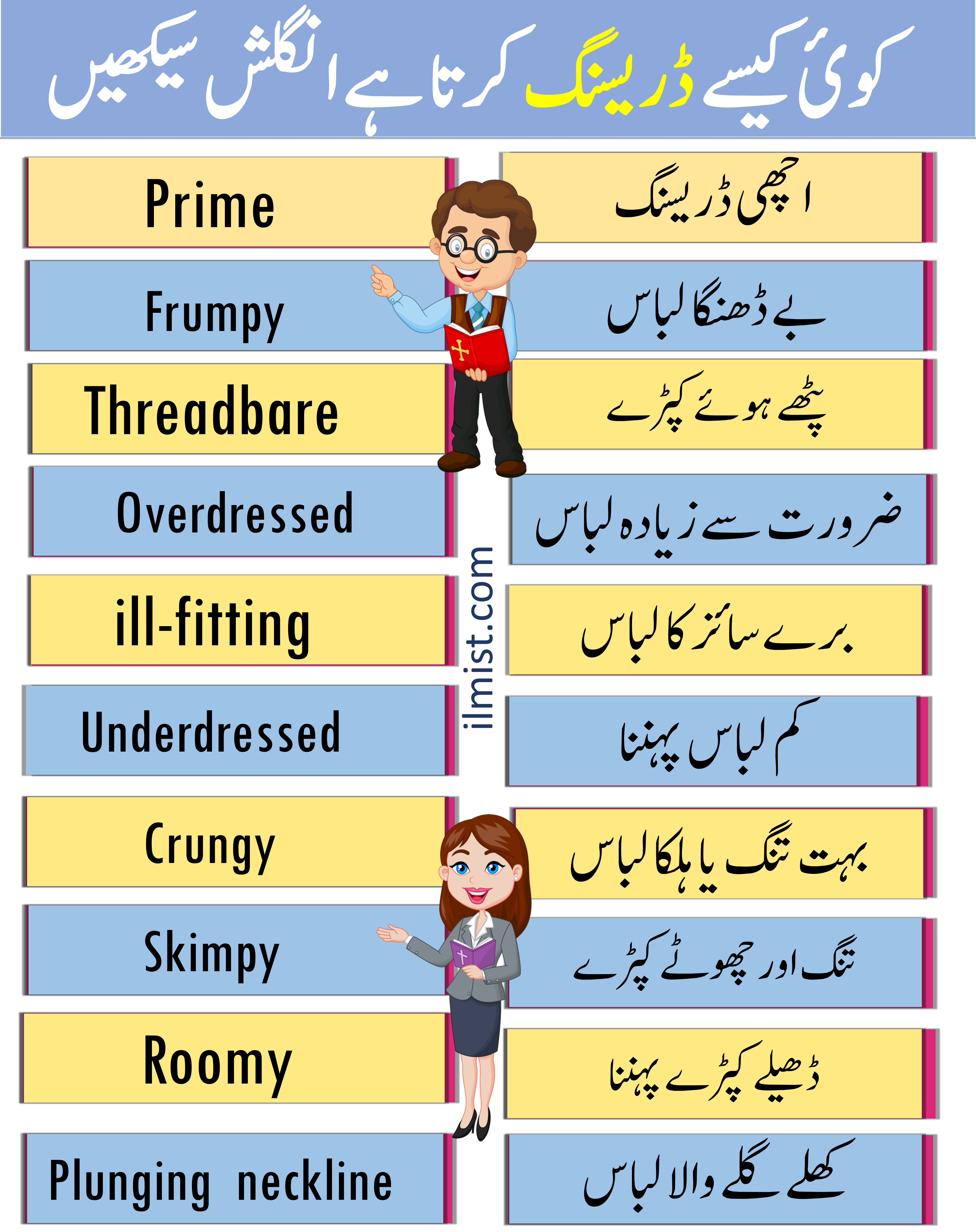 English Vocabulary to Describe DRESSING SENSE with Urdu Translation