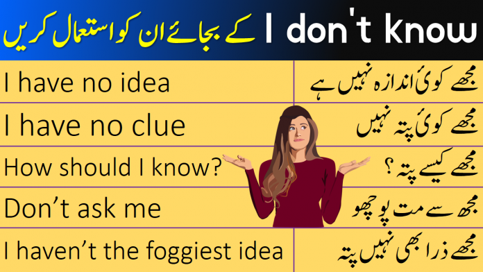 English Phrases for Saying I DON'T KNOW with Urdu Translation