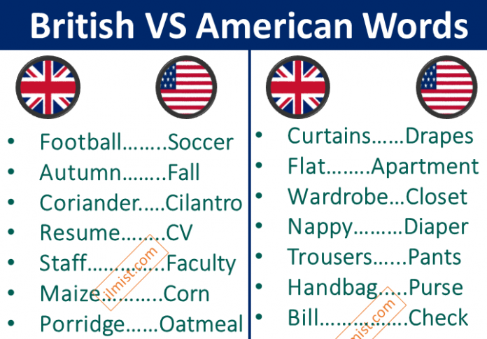 200+ Words Difference Between British VS American Language
