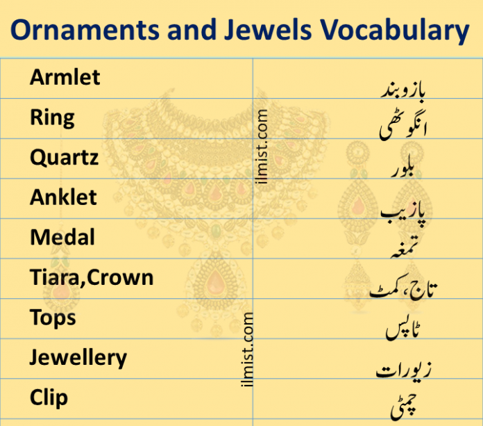 Ornaments and Jewels Vocabulary In English To Urdu