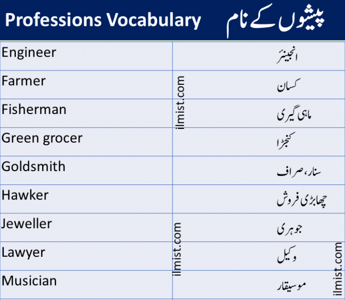 Jobs, Professions and Occupations Vocabulary Words In English To Urdu